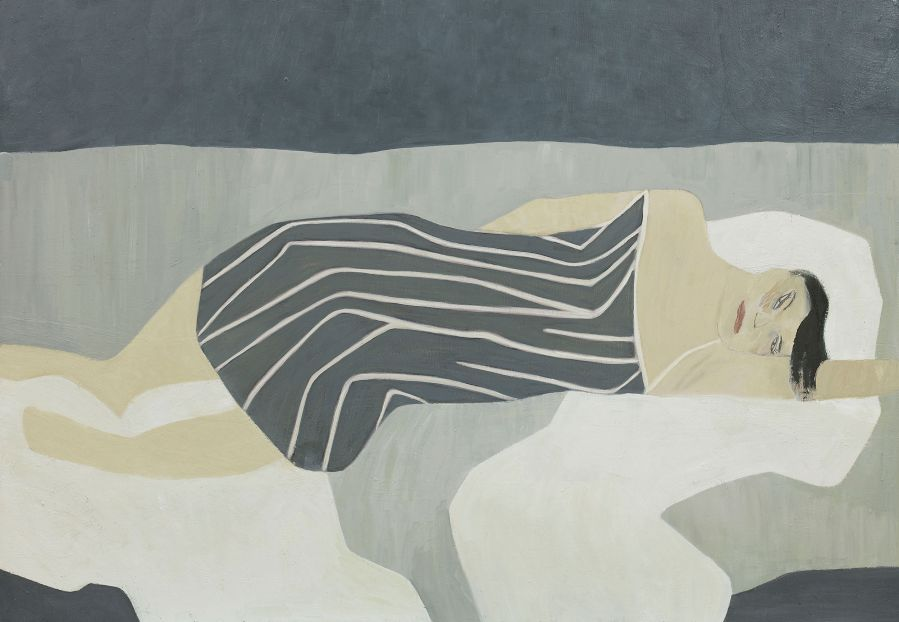 person in grey striped dress lying down.