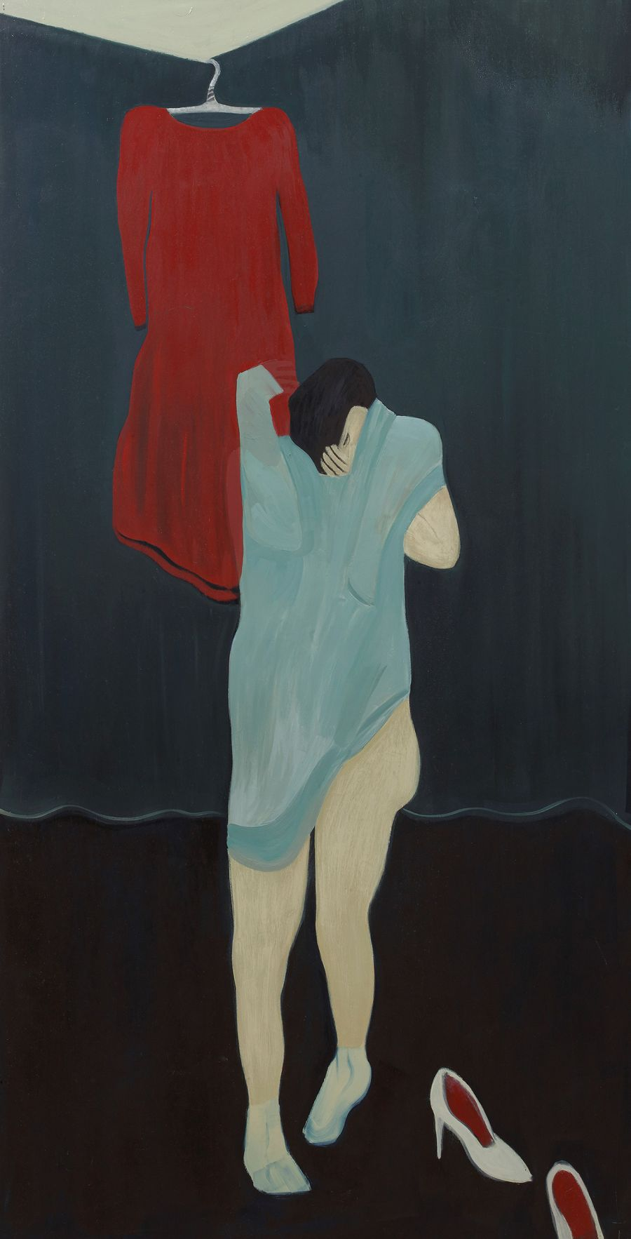 figure taking off clothes with white shoes and a red dress hanging behind them.