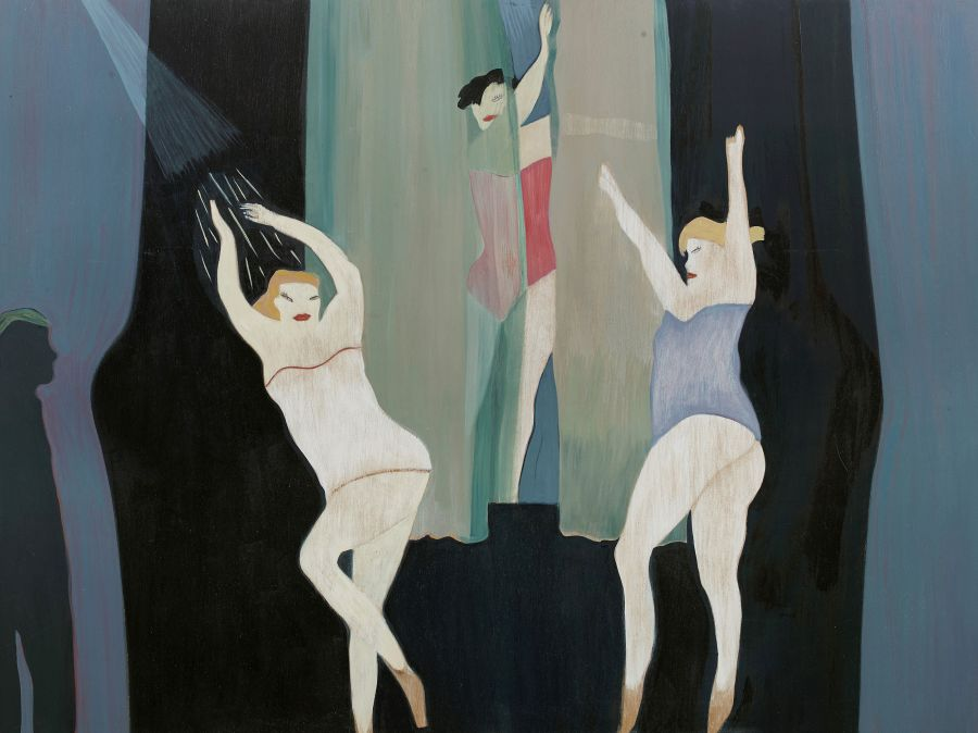 three dancers with drapes, watched by figure in the shadows.