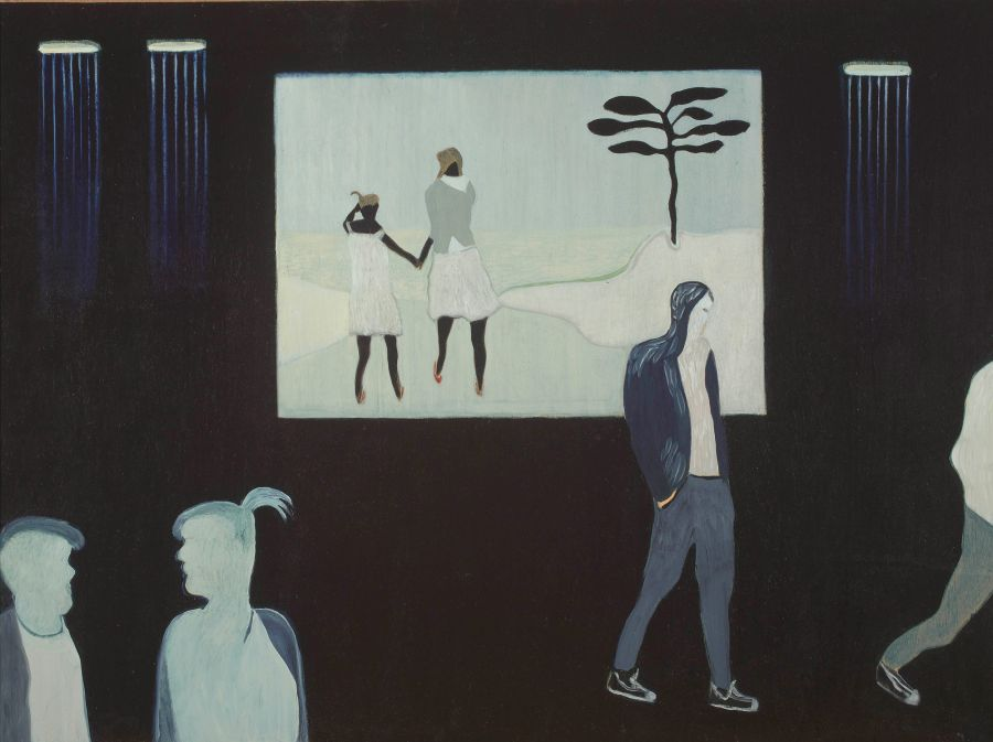 Painting, oil on wood panel of people walking and grouped in front of a screen with two girls hand in hand seen form behind, second in series.