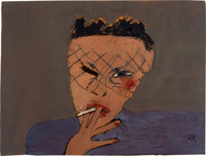painting of woman with short hair smoking.
