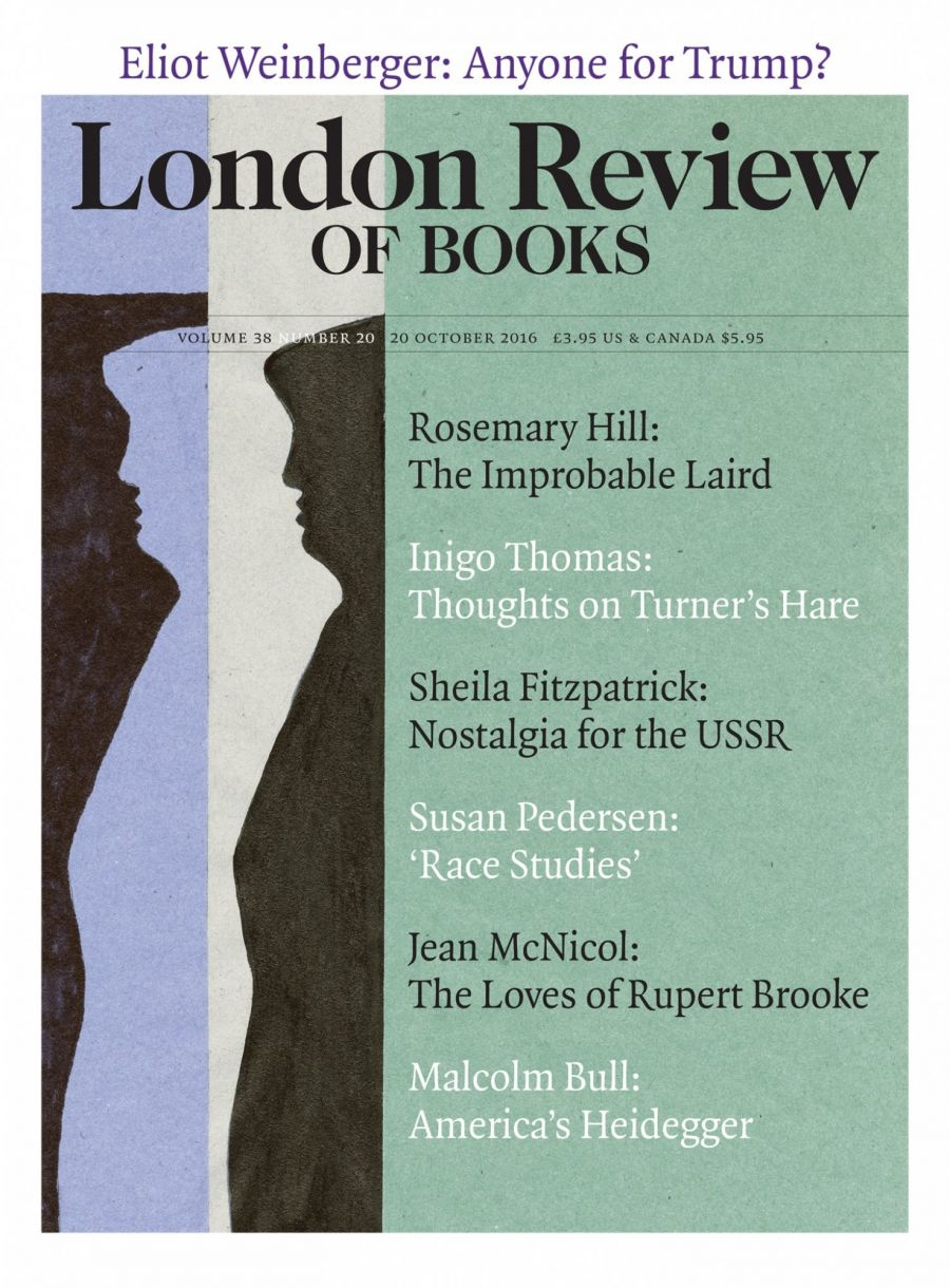 LRB cover 10/20/2016 with silhouette of Trump, ex president of USA.