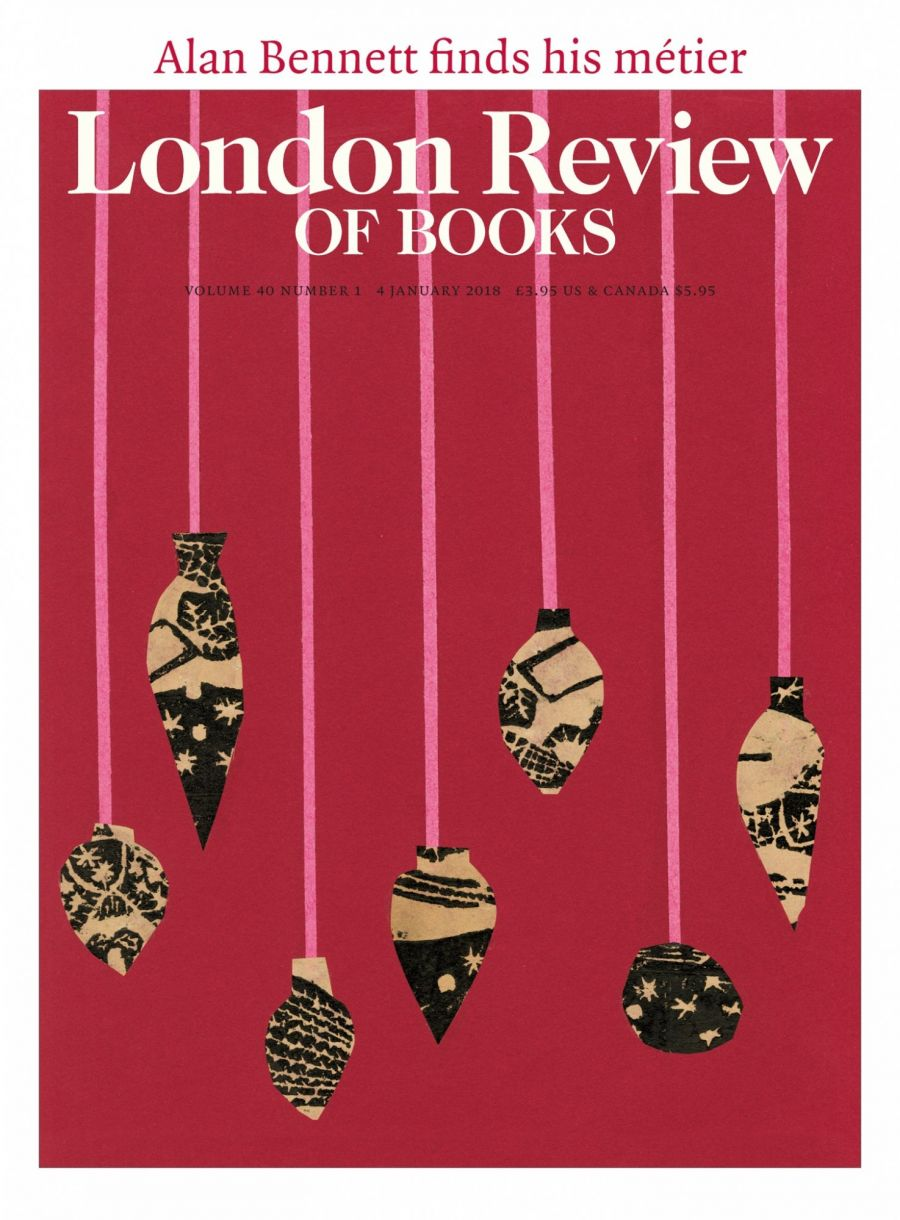 LRB cover 01/01/2018 collage of christmas baubles.