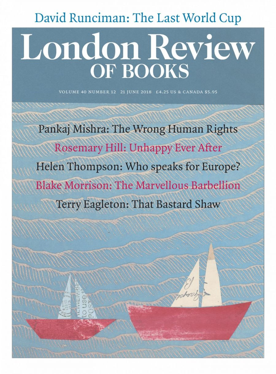 LRB cover 06/21/2018 montaged of two small boats in sea.