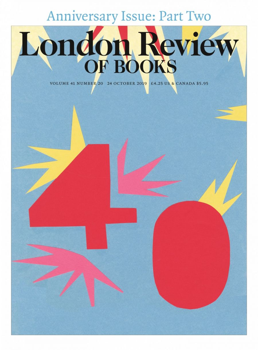 LRB cover 10/24/2019 number 40 part two anniversary issue.