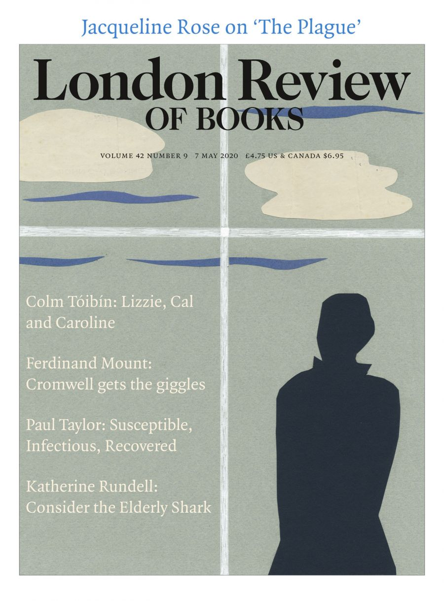 LRB  cover 05/07/2020 figure looking out through a window at clouds.