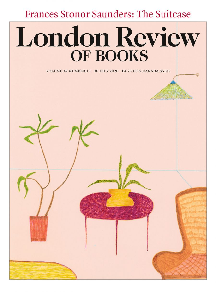 LRB cover 07/30/2020 chair side table and plants against a pale pink background.